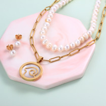 18k Gold Plated Zodiac Mother pearl Pendant Multi Layered Necklace Sets -SSCSG142-31959