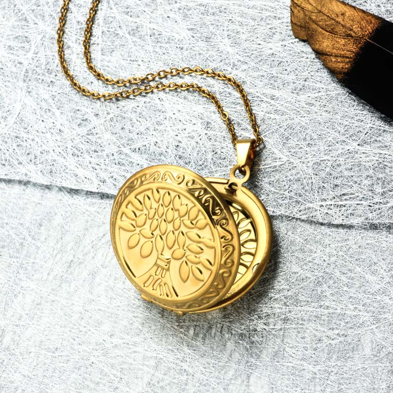 Stainless Steel 18k Gold Plated Locket Pendant Necklace -SSNEG143-32400