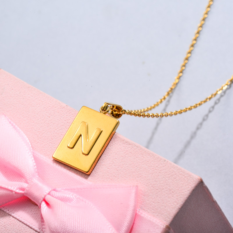 18k Gold Plated Personalized Rectangle Initial Letter Necklace SSNEG143-32449