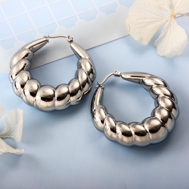 Stainless Steel Steel Color Minimalist Style Hoop Earrings -SSEGG143-32385