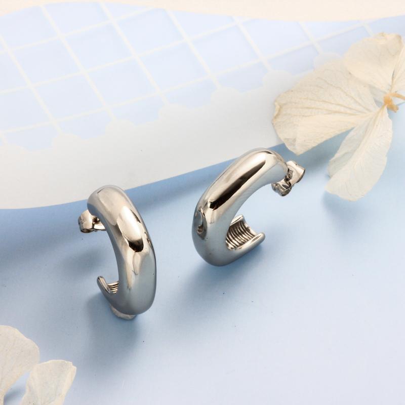 Stainless Steel Steel Color Minimalist Style Hoop Earrings -SSEGG143-32395