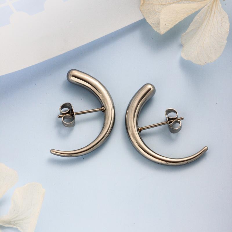 Stainless Steel Steel Color Minimalist Style Hoop Earrings -SSEGG143-32394