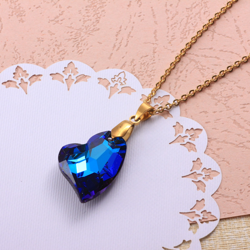 Stainless Steel Crystal Pendant Necklace -SSNEG173-32323