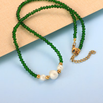 Stainless Steel Beaded Pearl  Necklace -SSNEG142-32006