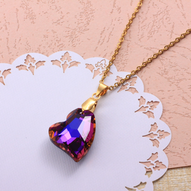 Stainless Steel Crystal Pendant Necklace -SSNEG173-32324