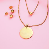 18k Gold Plated  Round Pendant Layered Necklace Earring Set -SSCSG142-31865