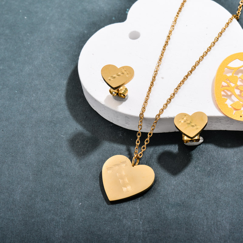 Stainless Steel 18k Gold Plated Letter T Heart Jewelry Sets -SSCSG143-32360