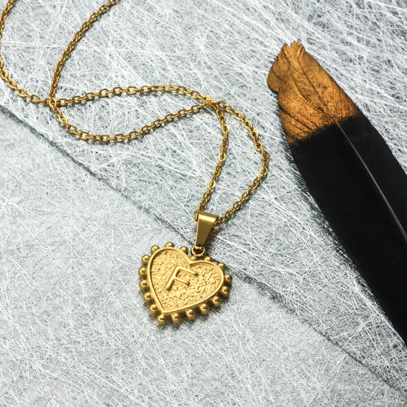 18k Gold Plated Personalized Heart Initial Letter Necklace SSNEG143-32415