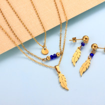 Stainless Steel Leaf Multi Layered Necklace Sets -SSCSG142-31984