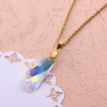 Stainless Steel Crystal Pendant Necklace -SSNEG173-32304