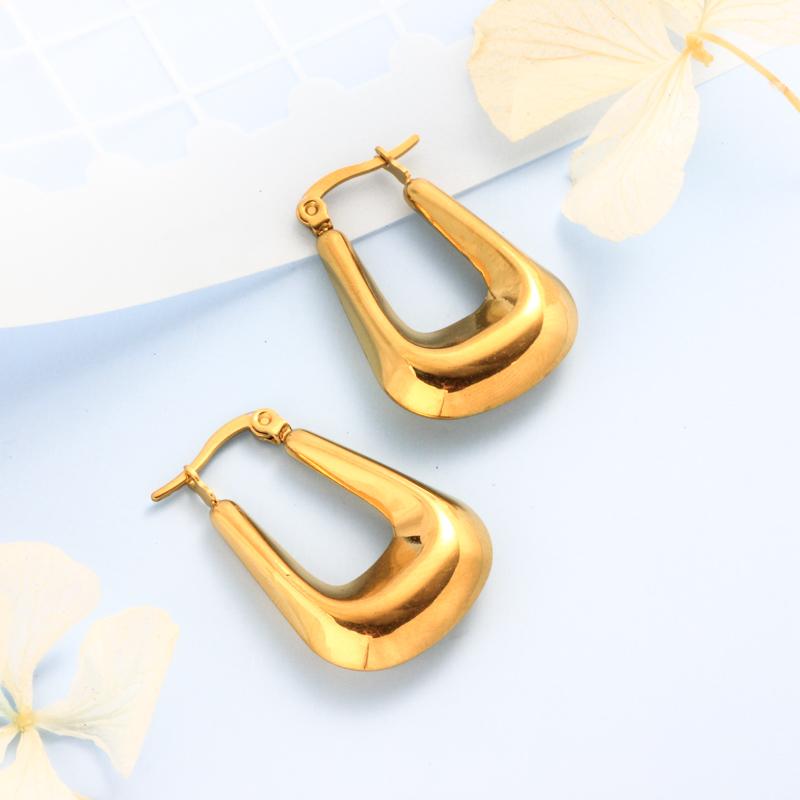 Stainless Steel 18K Gold Plated Minimalist Style Hoop Earrings -SSEGG143-32391