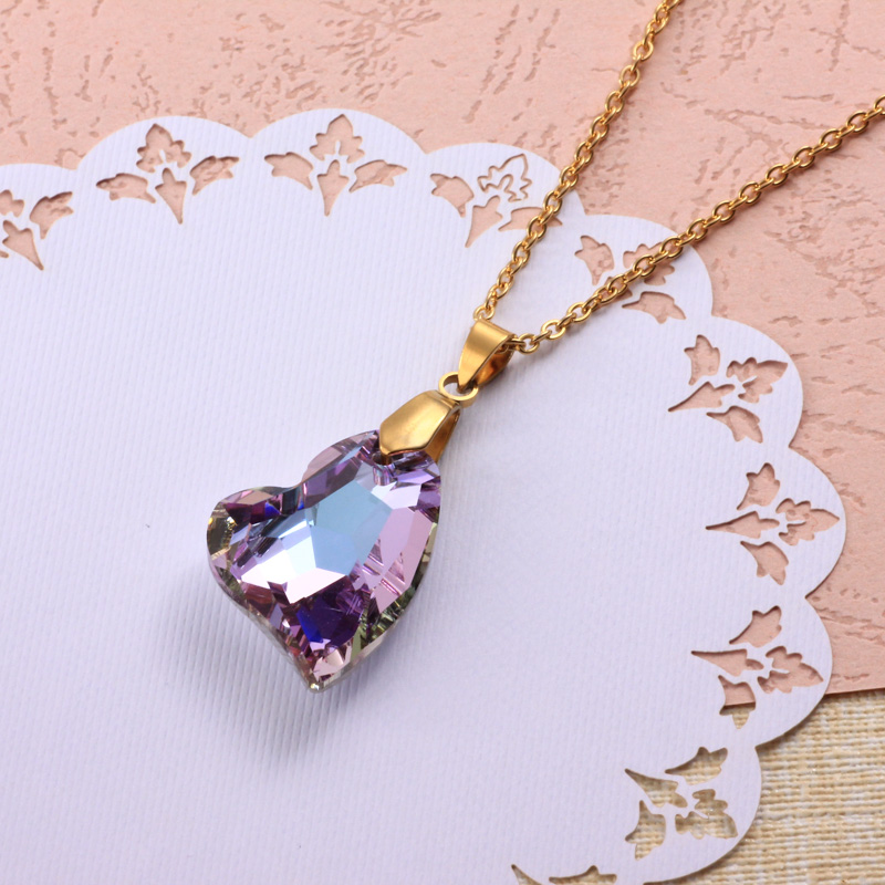 Stainless Steel Crystal Pendant Necklace -SSNEG173-32327