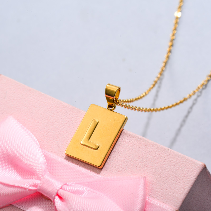 18k Gold Plated Personalized Rectangle Initial Letter Necklace SSNEG143-32447