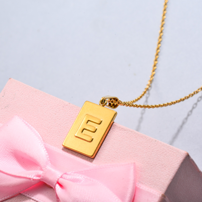 18k Gold Plated Personalized Rectangle Initial Letter Necklace SSNEG143-32440