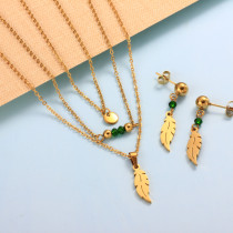 Stainless Steel Leaf Multi Layered Necklace Sets -SSCSG142-31983