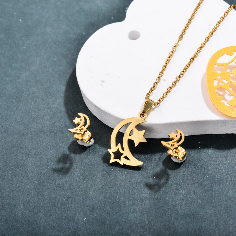 Stainless Steel Star and Moon Jewelry Sets -SSCSG143-32363
