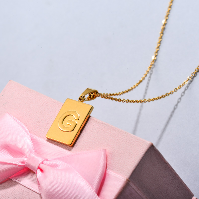 18k Gold Plated Personalized Rectangle Initial Letter Necklace SSNEG143-32442