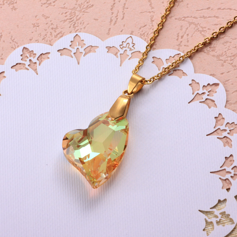 Stainless Steel Crystal Pendant Necklace -SSNEG173-32333