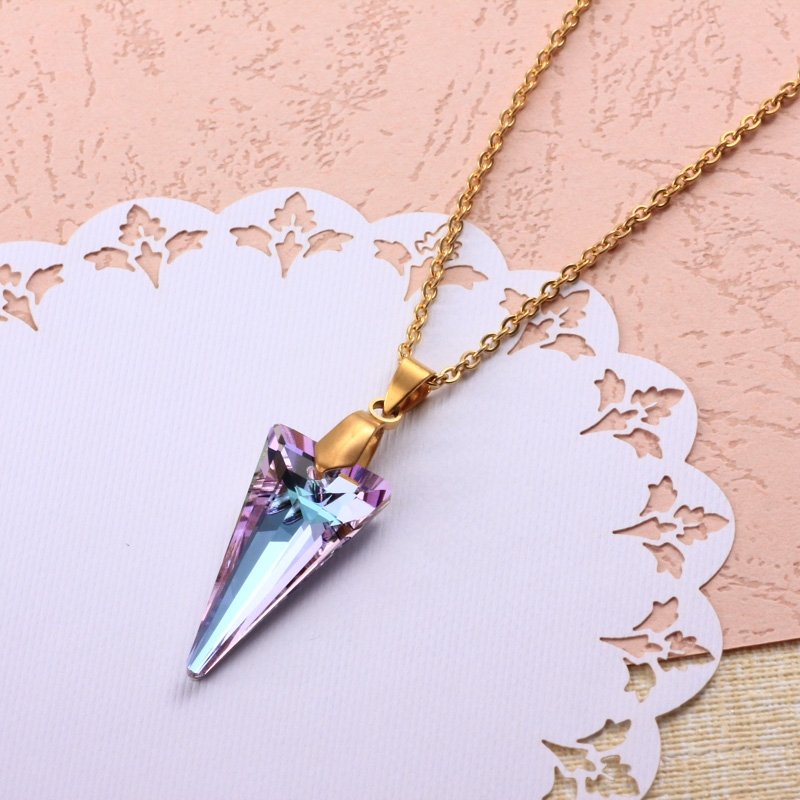 Stainless Steel Crystal Pendant Necklace -SSNEG173-32321
