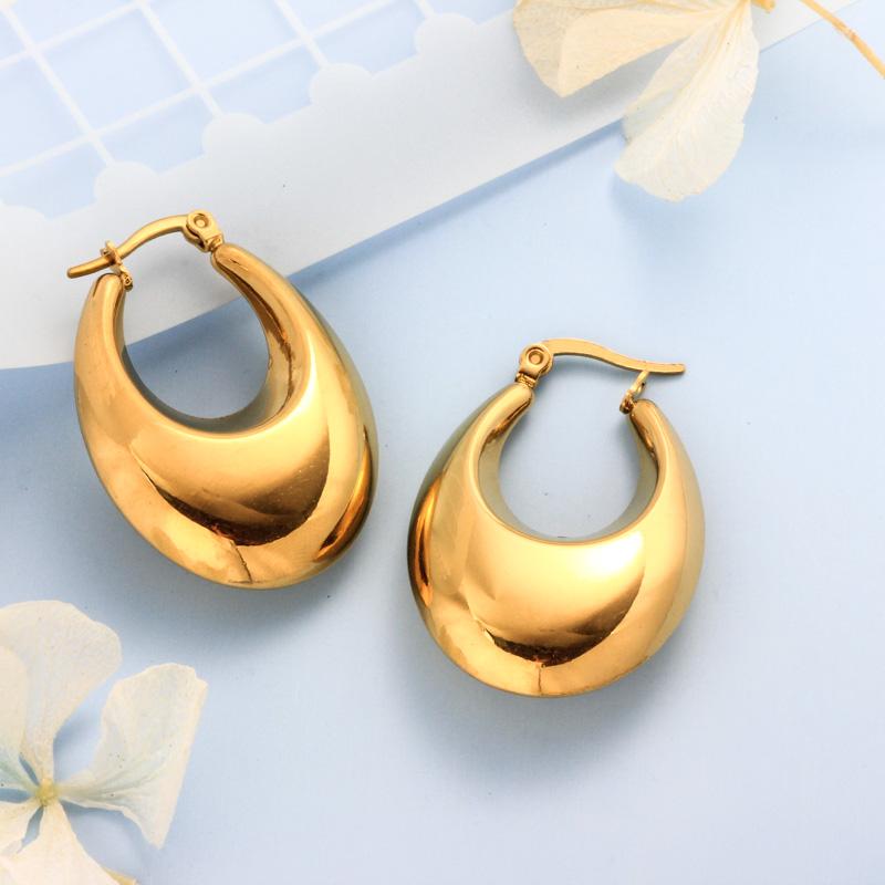 Stainless Steel 18K Gold Plated Minimalist Style Hoop Earrings -SSEGG143-32393