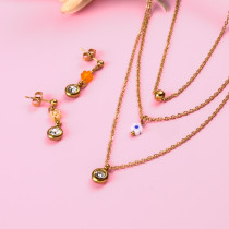 18k Gold Plated  Crystal Flower  Pendant Layered Necklace Earring Set -SSCSG142-31866