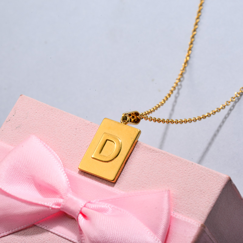 18k Gold Plated Personalized Rectangle Initial Letter Necklace SSNEG143-32439