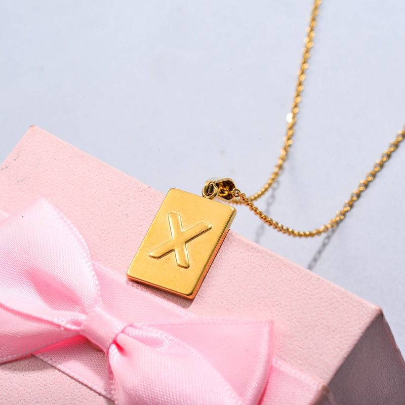18k Gold Plated Personalized Rectangle Initial Letter Necklace SSNEG143-32459