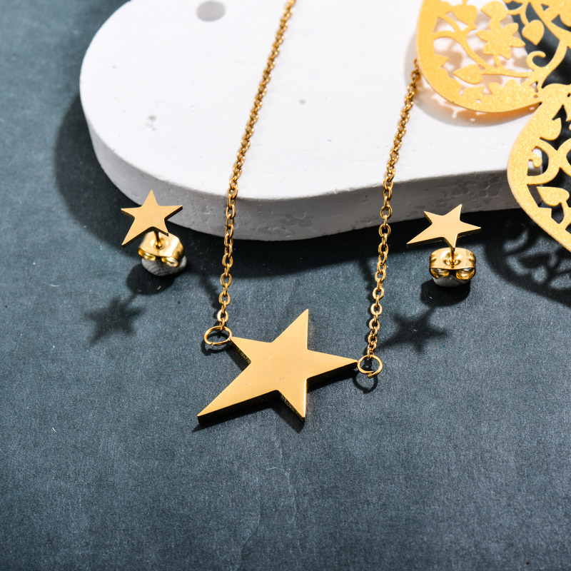 Stainless Steel 18k Gold Plated Star Jewelry Sets -SSCSG143-32375