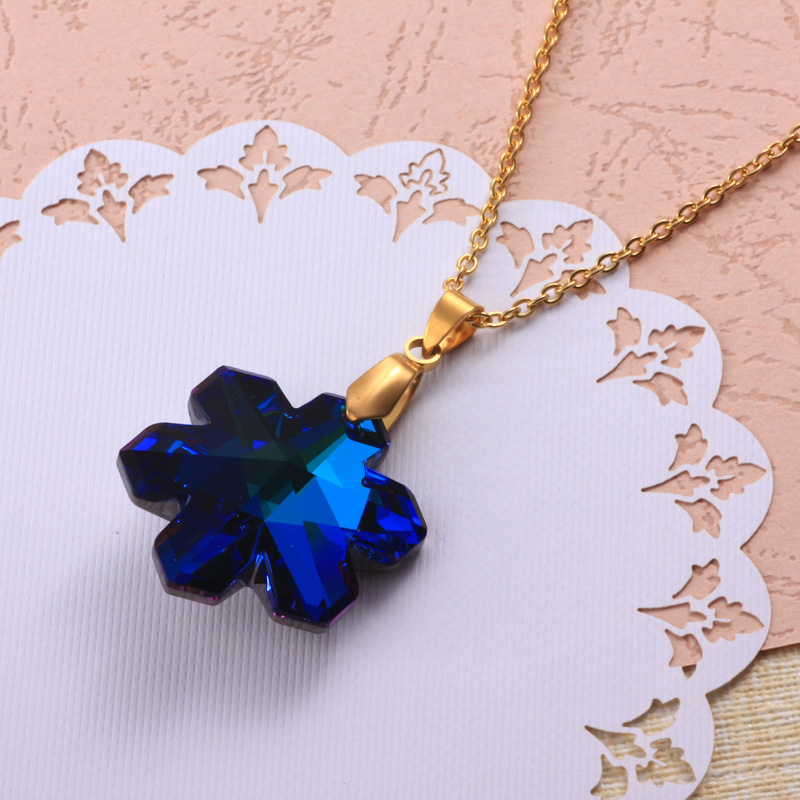 Stainless Steel Crystal Pendant Necklace -SSNEG173-32332