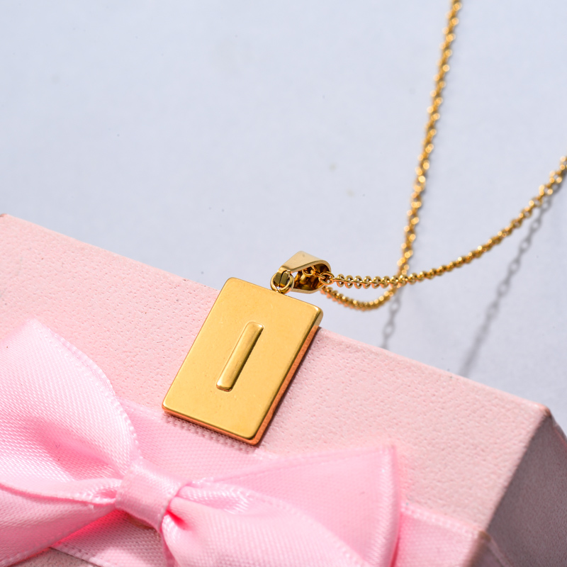 18k Gold Plated Personalized Rectangle Initial Letter Necklace SSNEG143-32444