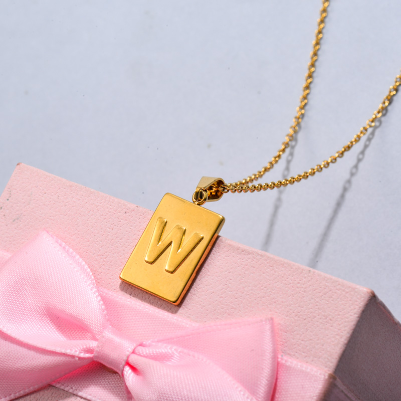 18k Gold Plated Personalized Rectangle Initial Letter Necklace SSNEG143-32458