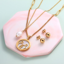 18k Gold Plated Zodiac Mother pearl Pendant Multi Layered Necklace Sets -SSCSG142-31956