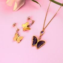 18k Gold Plated Crystal Butterfly  Necklace Earring Set -SSCSG142-31848