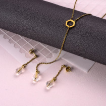 18k Gold Plated Crystal Drop Earring Necklace Set -SSCSG142-31890