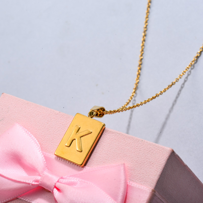18k Gold Plated Personalized Rectangle Initial Letter Necklace SSNEG143-32446