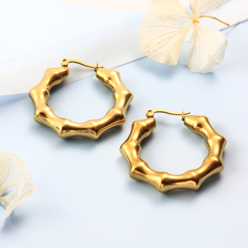 Stainless Steel 18K Gold Plated Minimalist Style Hoop Earrings -SSEGG143-32379