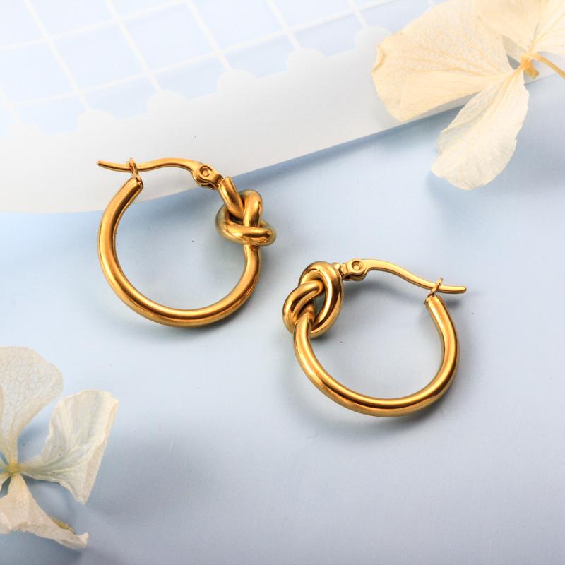 Stainless Steel 18K Gold Plated Minimalist Style Hoop Earrings -SSEGG143-32388