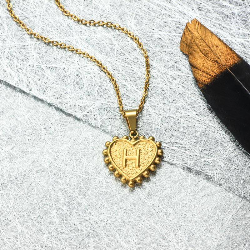 18k Gold Plated Personalized Heart Initial Letter Necklace SSNEG143-32417