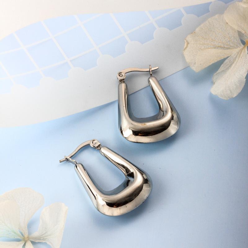 Stainless Steel Steel Color Minimalist Style Hoop Earrings -SSEGG143-32387