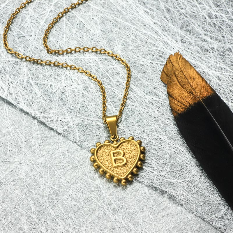 18k Gold Plated Personalized Heart Initial Letter Necklace SSNEG143-32411