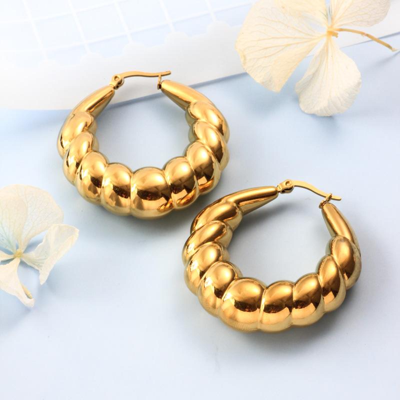 Stainless Steel 18K Gold Plated Minimalist Style Hoop Earrings -SSEGG143-32381