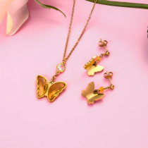 18k Gold Plated Crystal Butterfly  Necklace Earring Set -SSCSG142-31849