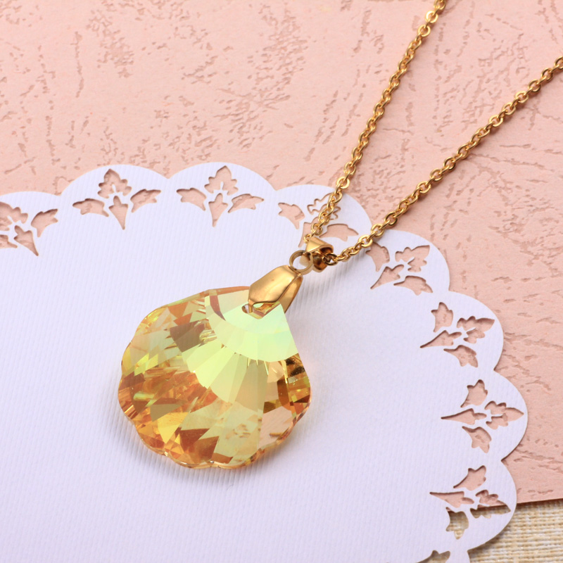 Stainless Steel Crystal Pendant Necklace -SSNEG173-32320