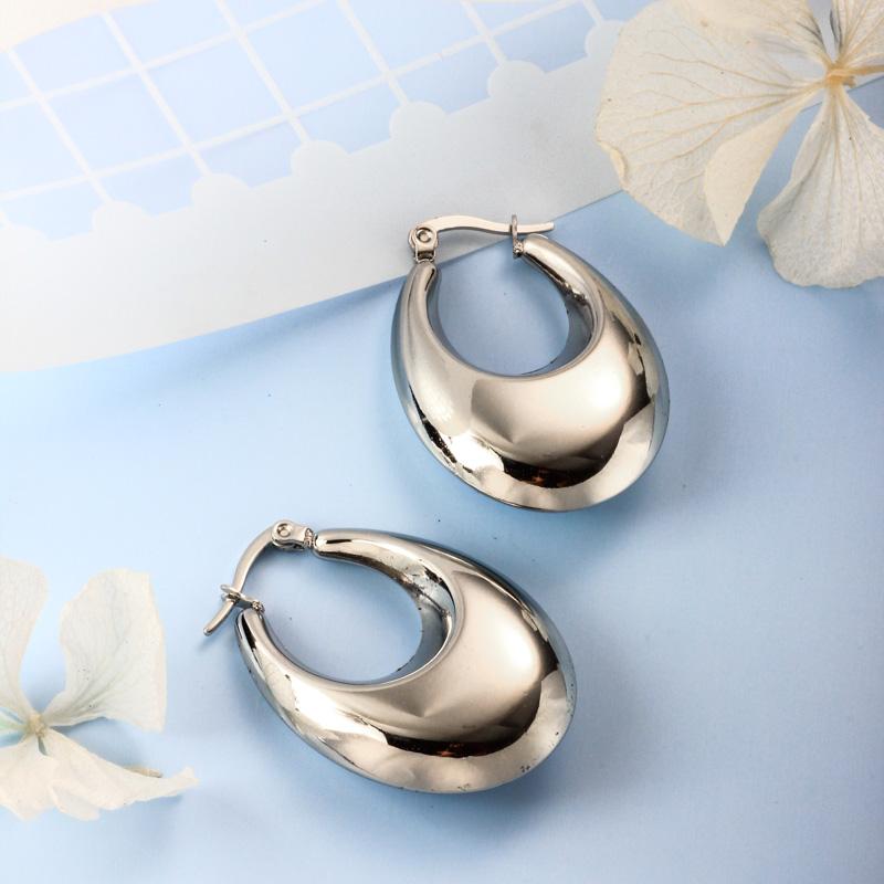 Stainless Steel Steel Color Minimalist Style Hoop Earrings -SSEGG143-32383