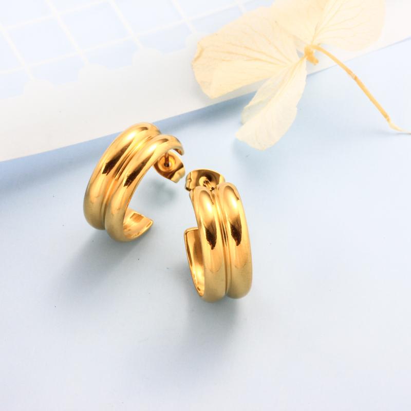 Stainless Steel 18K Gold Plated Minimalist Style Hoop Earrings -SSEGG143-32397