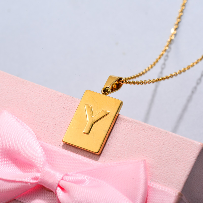 18k Gold Plated Personalized Rectangle Initial Letter Necklace SSNEG143-32460