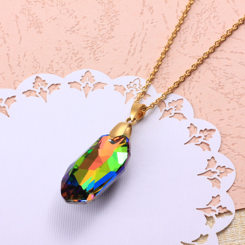 Stainless Steel Crystal Pendant Necklace -SSNEG173-32317
