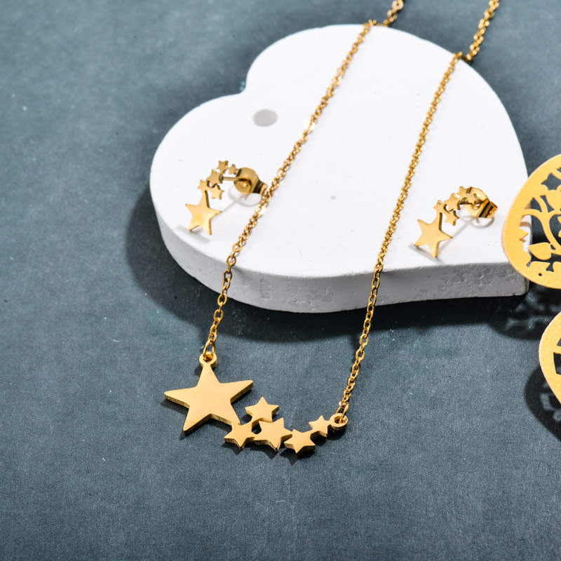 Stainless Steel 18k Gold Plated Star Jewelry Sets -SSCSG143-32376