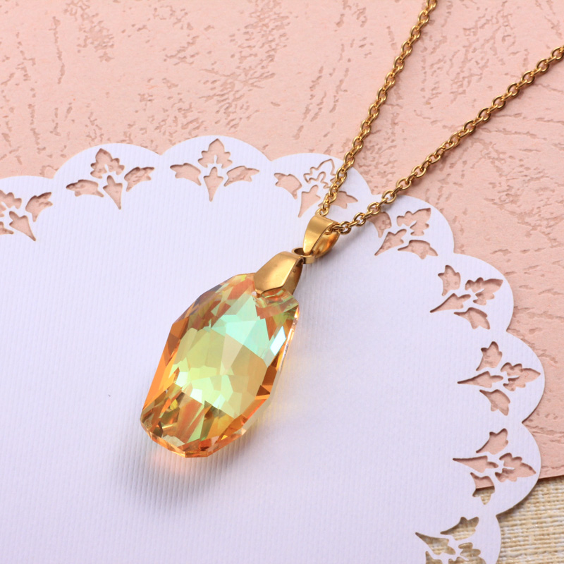 Stainless Steel Crystal Pendant Necklace -SSNEG173-32325