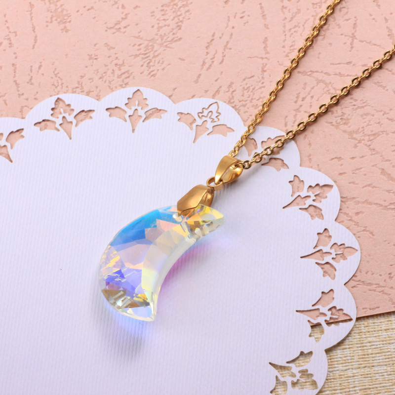 Stainless Steel Crystal Pendant Necklace -SSNEG173-32322